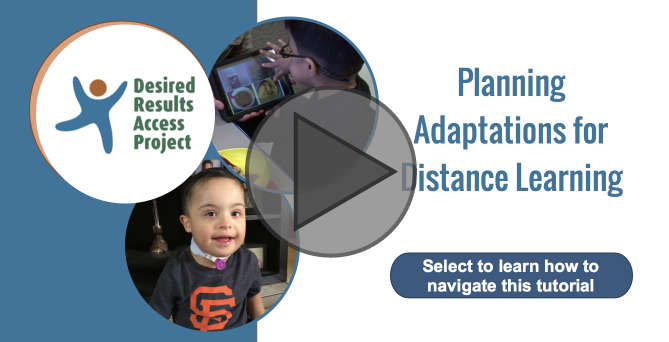 Interactive Tutorial for Planning Adaptations for Distance Learning