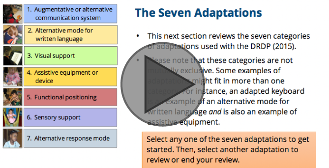 Interactive Tutorial: Using Adaptations with the DRDP (2015)