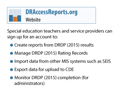 Sign up for an account on our reporting system providing a resource for administrators, families, and special education teachers and services providers