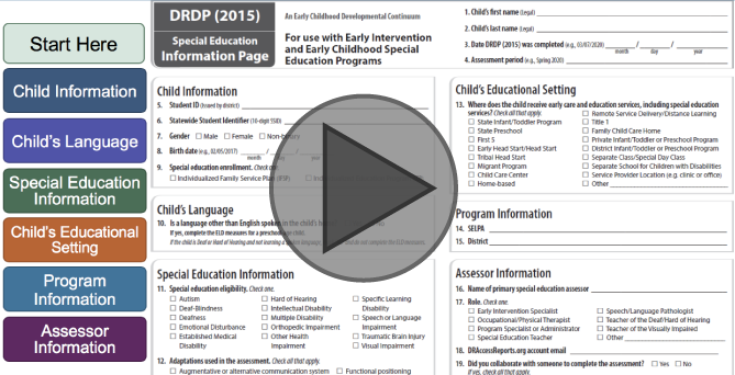 Interactive Tutorial for DRDP (2015) Special Education Information Page