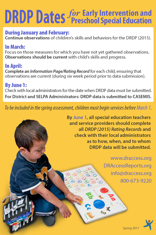 DRDP Dates for Early Intervention and Preschool Special Education