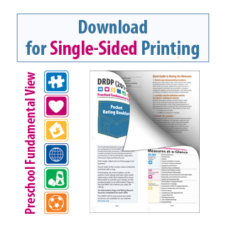 DRDP 2015 Pocket Rating Booklet Preschool Fundamental View for Single-Sided Printing