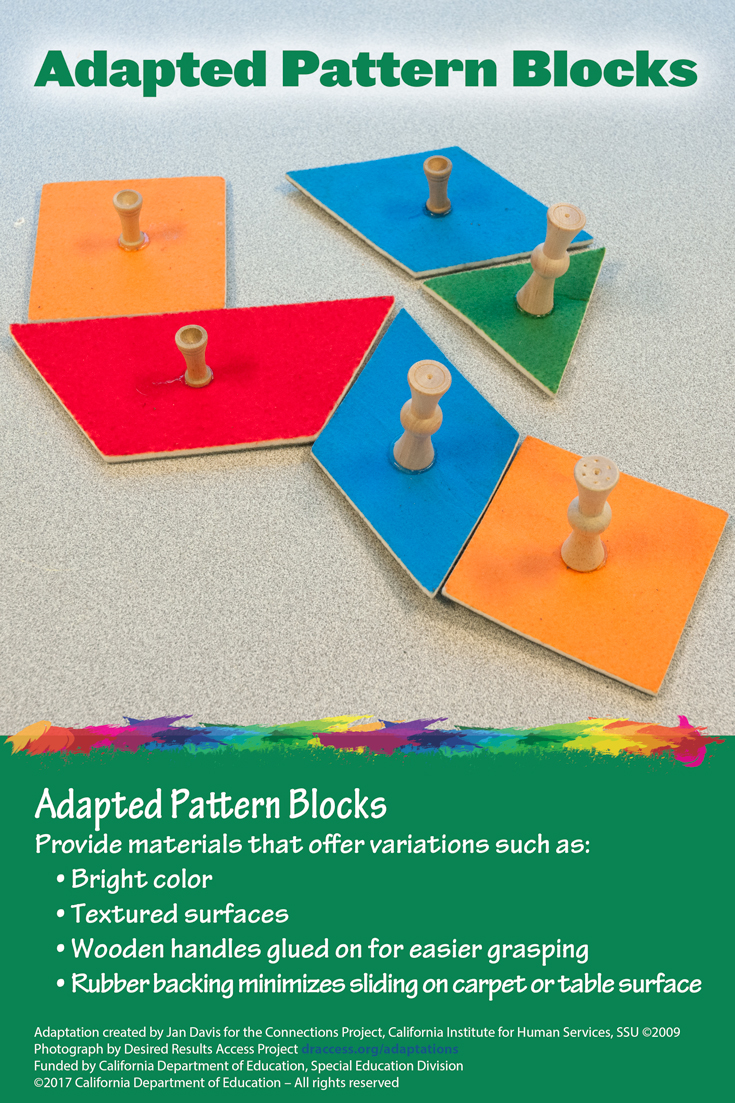 Adapted Pattern Blocks can assist children with motor disabilities